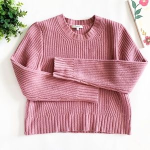 Madewell Pink Crew Chunky Wool Cropped Sweater
